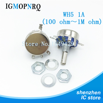 цена на 2pcs WH5-1A 1K 1K5 4K7 10K 22K 47K 100K 220K 470K 470R 1M ohm 3-Terminals Round Shaft Rotary Taper Carbon Potentiometer WH5 1A