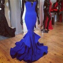 2016 heißer Verkauf Royal Blue Mermaid Prom Kleider Lange Sexy Party Abendkleider nach Maß Party Kleid Vestido De Festa