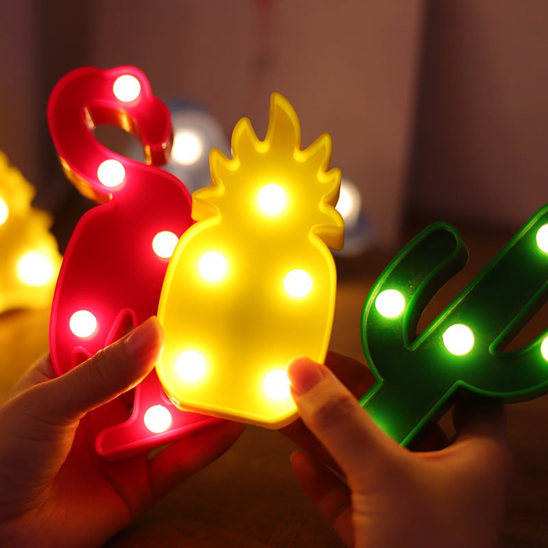 1Pcs LED Mini Night Lights Flamingo Pineapple Cactus 3D Lights Festival Bedroom Party Decor Kids Baby Birthday Christmas Gift (8)
