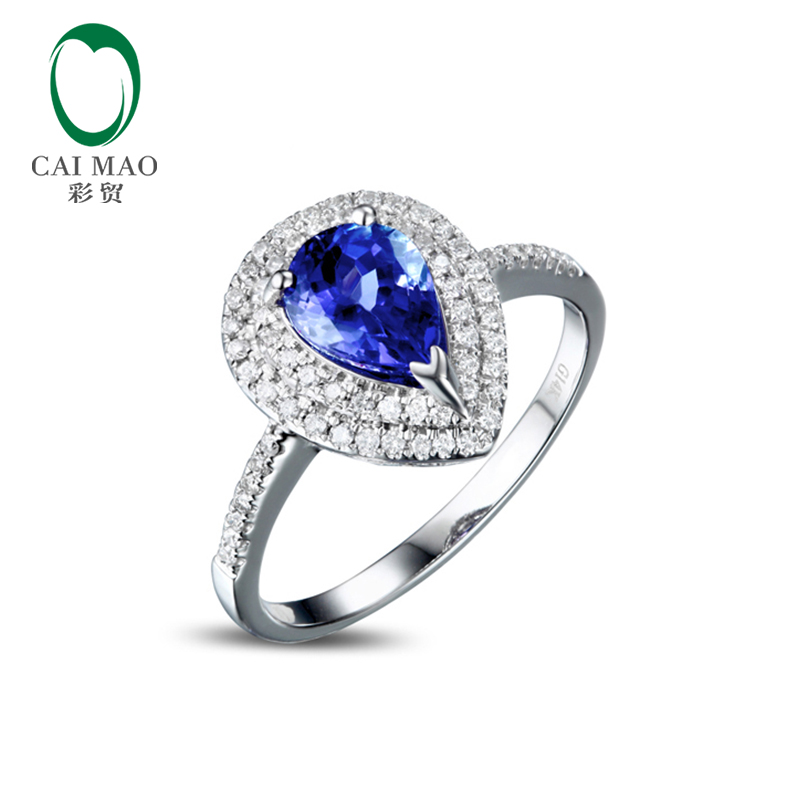 Caimao 1.41ct Фиолетовый Синий ААА Танзанит Алмазный 14 К Золото Обручальное Обручальное Кольцо Fine Jewelry