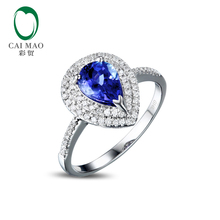 Caimao 1.41ct Violet Blue AAA Tanzanite Diamond 14k Gold Engagement Wedding Ring Fine Jewelry
