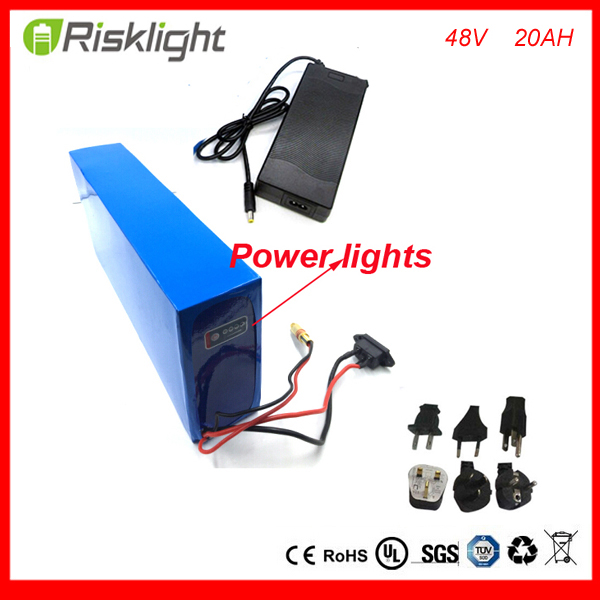 48V 1000W electric bike battery 48v 20ah electric bicycle battery 48v 20ah lithium ion battery  with Power lights ,Bms ,Charger free customs taxes super power 1000w 48v li ion battery pack with 30a bms 48v 15ah lithium battery pack for panasonic cell