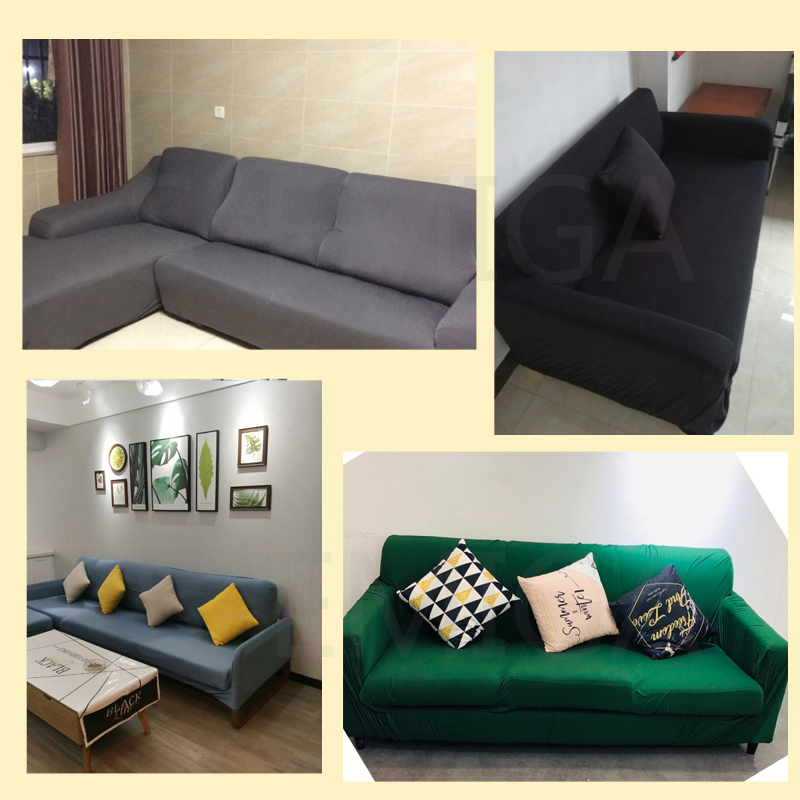 Image 4 - Grey Color Elastic Couch Sofa Cover Loveseat Cover Sofa Covers for Living Room Sectional Sofa Slipcover Armchair Furniture Cover-in Sofa Cover from Home & Garden
