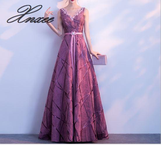 Dress female 2019 new noble elegant ladies dignified atmosphere purple long dress summer