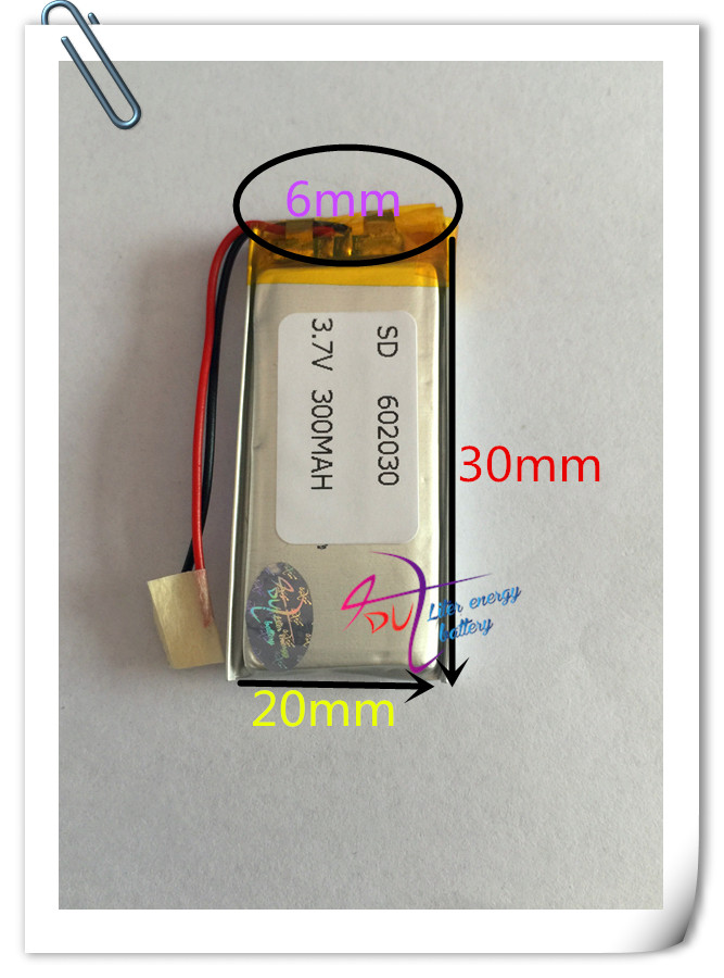 Wholesale 10 pcs 3.7V 300mAh <font><b>602030</b></font> Lithium Polymer LiPo Rechargeable Battery For Mp3 Mp4 PAD DVD DIY E-book image