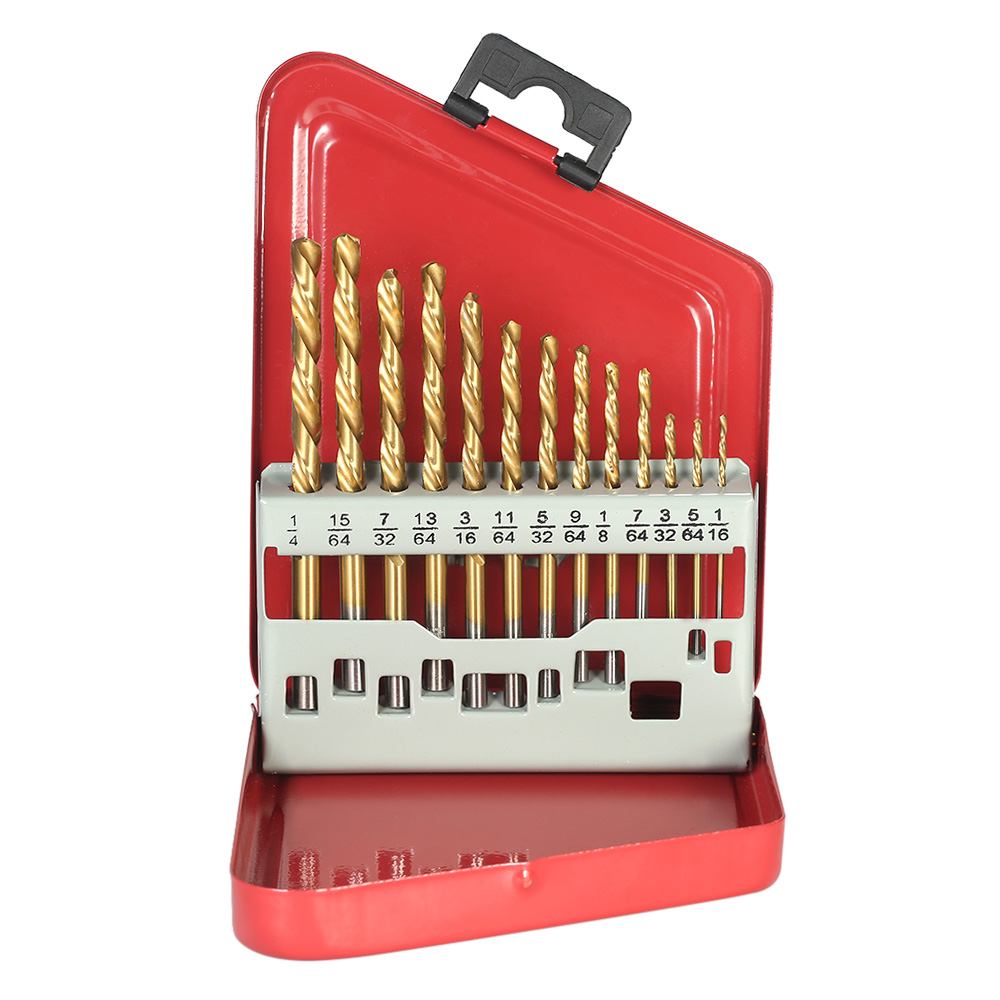 13pcs M2 HSS Drill Bit Set Left Handed extractor drill bits for metal power tools accessories with Titanium Nitride Coating 13pc titanium coated hss drill bit set for metal power tools drill accessories with 1 4 hex shank