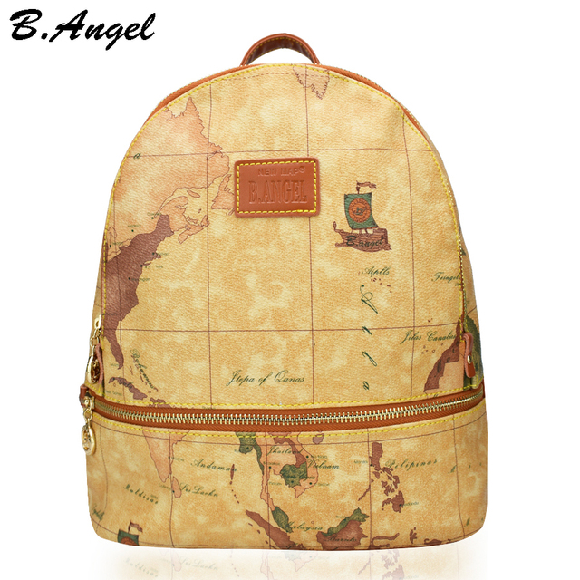 High quality world map backpack retro women leather backpack brand high quality world map backpack retro women leather backpack brand design school backpack fashion printing backpack gumiabroncs Gallery