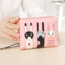 Cute three cat wallet PU Leather Bifold Photo Coin Card Holders Ladies Functional Clutch Purse Lovely Cartoon Short Wallet Women