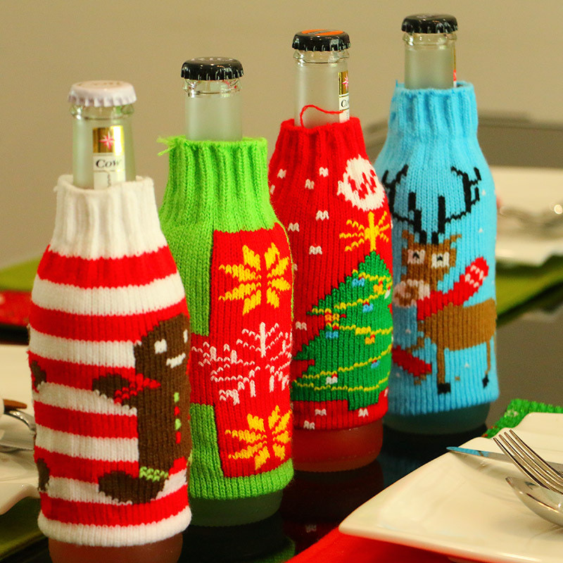Christmas Decorations Beer Bottle Knitted Cover Snowflake Party Xmas Table Decor Adornment Santa Decoration Wine Bottle Cover