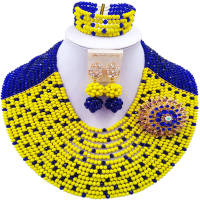 ACZUV Royal Blue And Yellow Beaded Jewelry Set Nigerian Wedding African Beads Necklace 15C 010