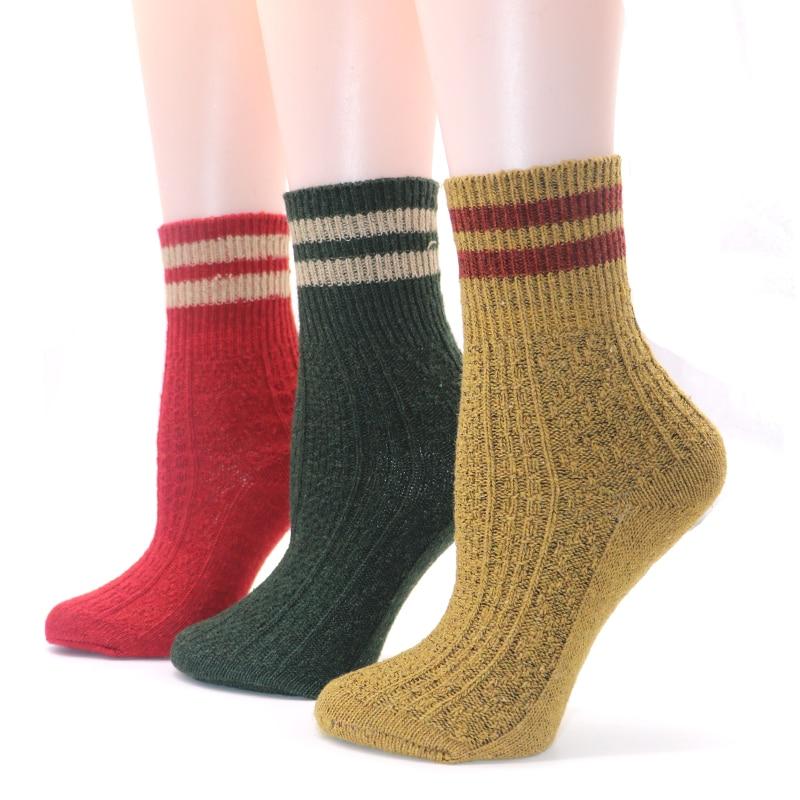 5Pairs Knitted Winter Warm Socks Design Solid Color Male Stripe Art Socks Men Winter Chaussette Homme Thermal Socks For Man Sock