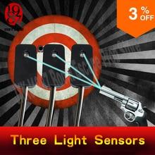 Accesorio de Escape de la habitación, tres sensores de luz, utilería para disparar el láser al mismo tiempo para desbloquear desde JXKJ1987 para rompecabezas de la sala de estar