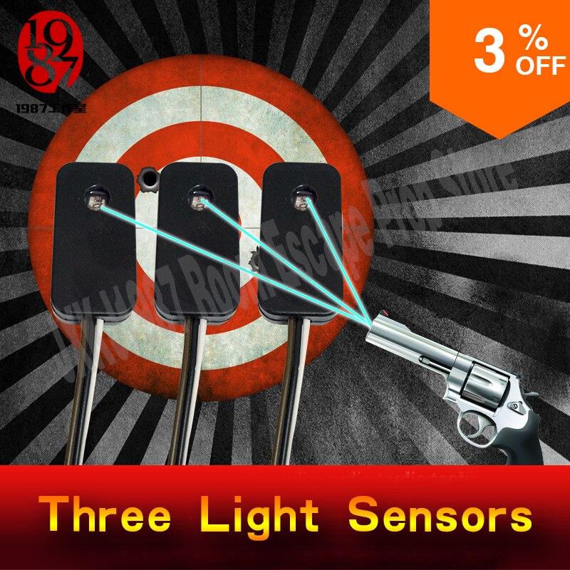 Escape room prop trois capteurs de lumière prop tirant sur le laser en même temps pour débloquer de JXKJ1987 pour le puzzle de chambre