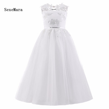 Real Picture White Flower Girl Dresses With Bow Illusion Beaded Lace First Communion Dresses for Girls with petticoat