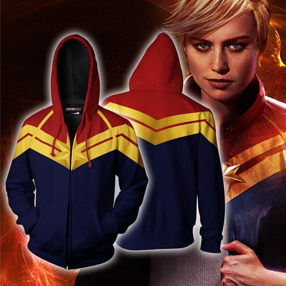 3D Movie Captain Marvel Carol Danvers Hoodie Sweatshirts Cosplay Costume  Zipper Coat Jacket Unisex