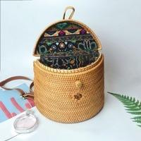 Summer Vietnam Hand woven Rattan Bag Backpack Bohemian Beach Bag