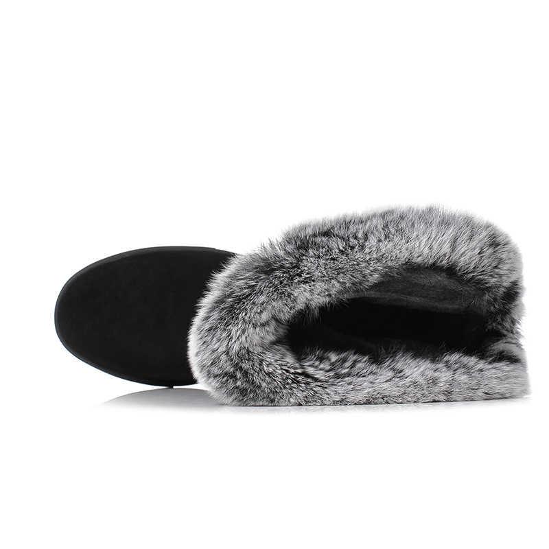 ESVEVA 2019 botas de piel abrigadas para mujer, botas de nieve para aumentar la altura de la plataforma, botas de tobillo de punta redonda para mujer 34-40