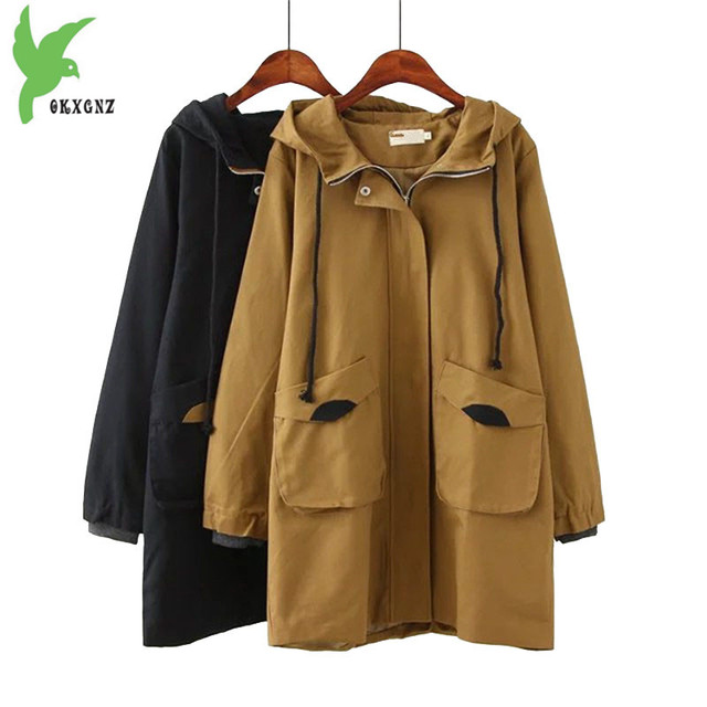 dfa97232e5cbe NEW Cotton Trench coat Women 2018 Spring Autumn Plus size 4XL Hooded  Windbreaker Large size Female Loose Coat Medium length 2059