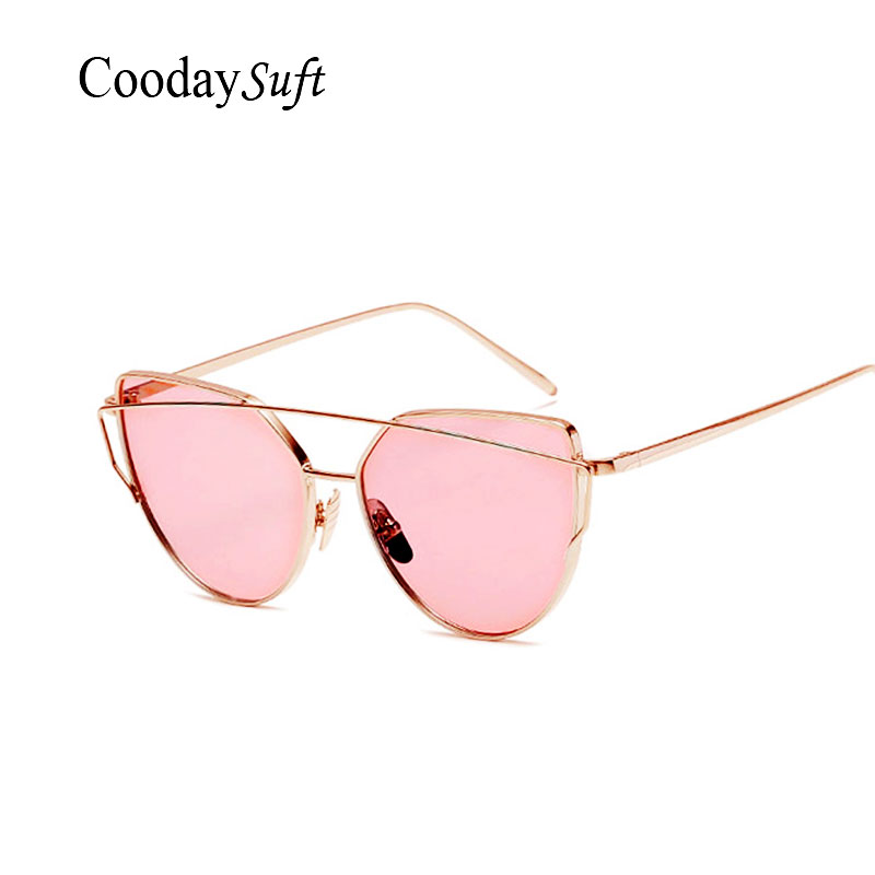Coodaysuft Women Transparent Sunglasses Cat Eye Brand Design Mirror Rose Gold Vintage Cateye Fashion Sun Glasses