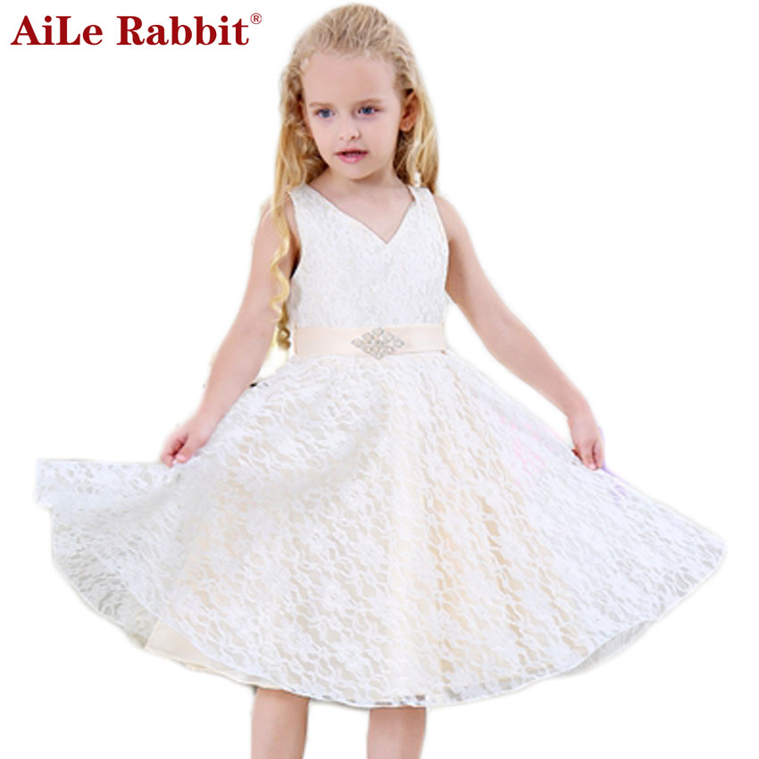 SISRERS Girls party wear clothing for children summer sleeveless lace princess wedding dress girls teenage well party dress 2