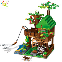 443pcs Island Forest House Model Building Blocks Minecrafted City DIY dragon Figure brick Educational toy for children(China)