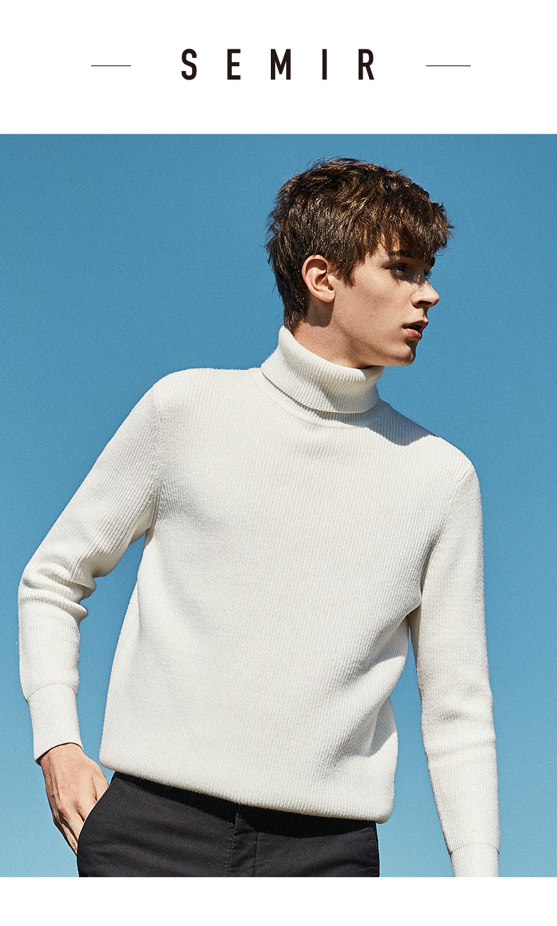 SEMIR Winter Warm Turtleneck Sweater Men Double Collar Fashion Solid Knitted Mens Sweaters 18 Casual Male Slim Fit Pullover 1