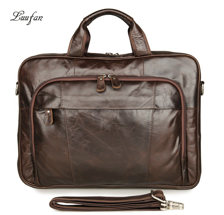 Fashion Genuine Leather Man Business Briefcase 16 Inch Laptop Handbag Big Capacity Cow Leather Travel Duffel Bag Messenger Bags