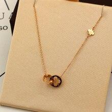 Женское ювелирное изделие, два круга, двойная Пряжка, ожерелье, полый клевер, подвеска, ожерелье для женщин, нержавеющая сталь, Золотая ключица K0024