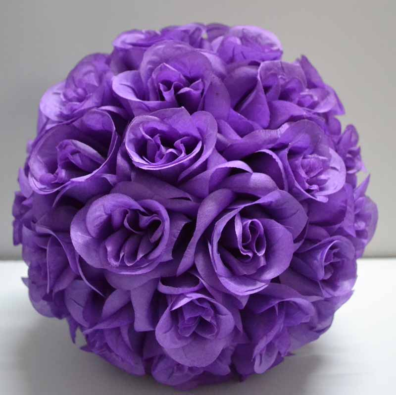Light purple lavender color kissing ball silk rose ball artificial silk rose ballin Artificial