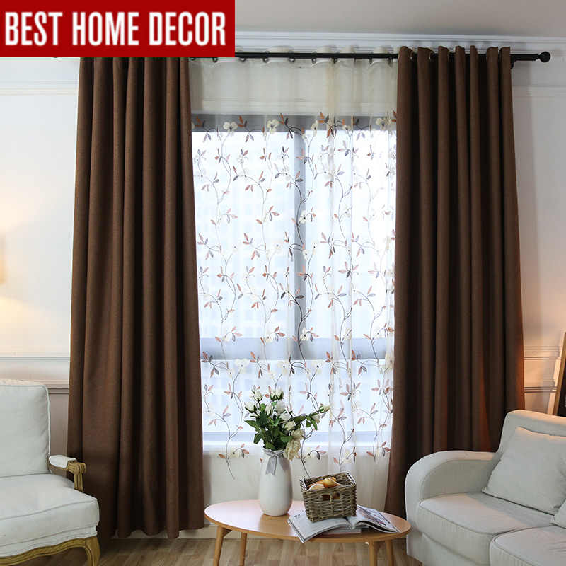 Modern blackout curtains for living room bedroom cloth curtains for window drapes coffee blackout curtains 1 panel blinds