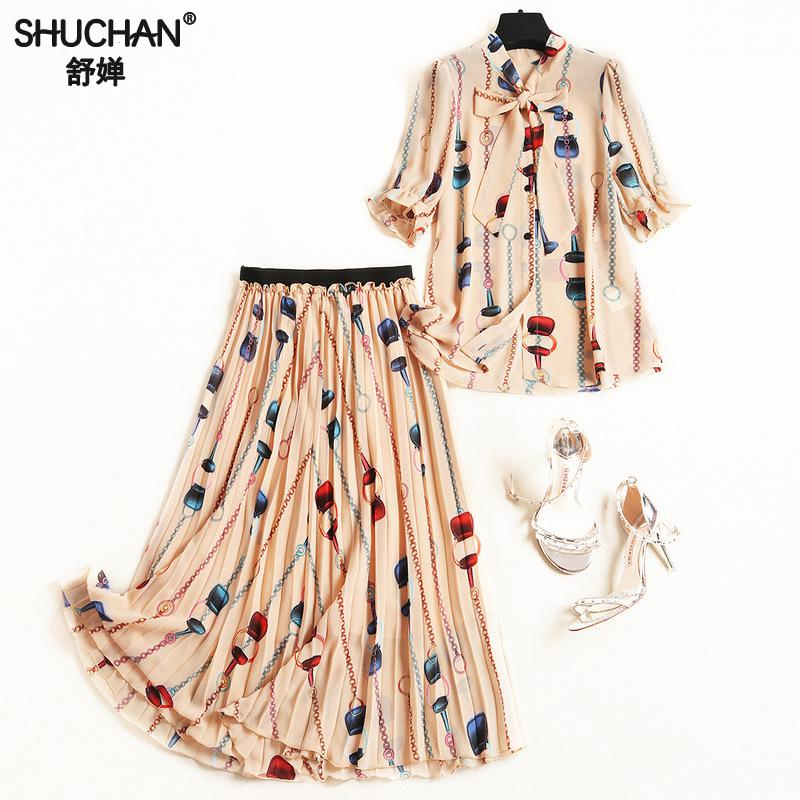 Shuchan Designer Women Suit 2019 High Quality Office Lady Print Blouse+pleated Skirts Elastic Waist Mid-calf Two Piece Set 11023