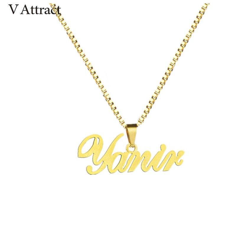 Gold Box Kette Benutzerdefinierte Schmuck Personalisierte Name Anhänger Halskette Handgemachte Cursive Typenschild Choker Frauen Männer Bijoux BFF Geschenk