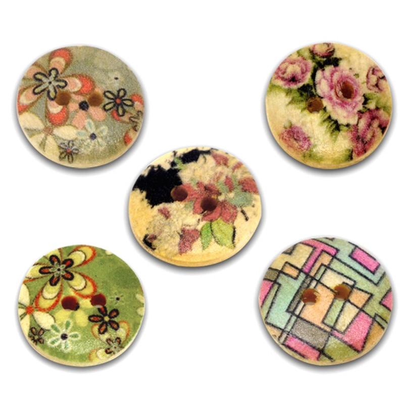 ᐂ300 unids madera redonda Costura Botones 2 agujeros multicolor ...