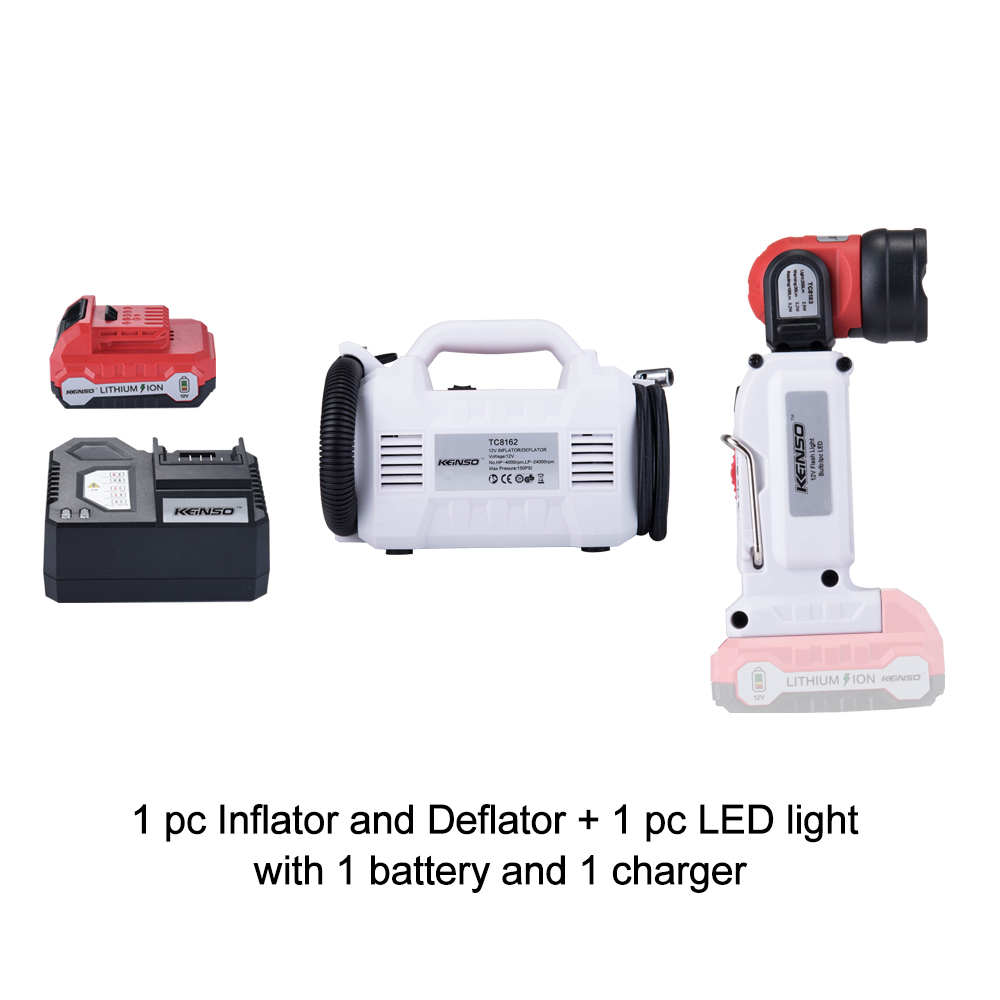 Keinso 12V power tools set Inflator and deflator and LED light with one lithium battery and