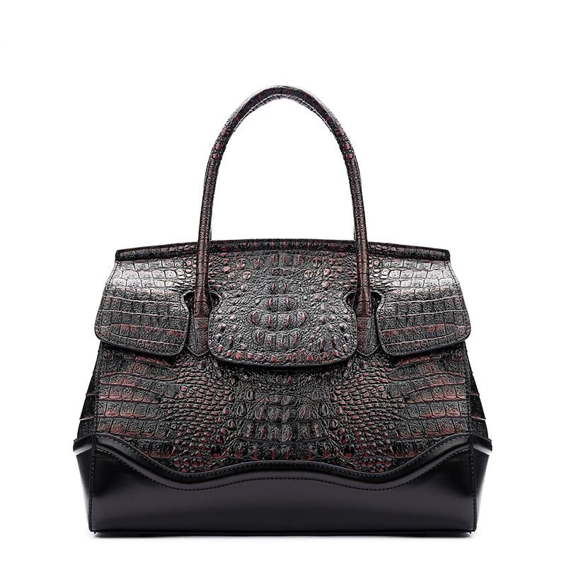 32.5 genuine Leather Vintage Crocodile handbag Alligator Pattern clutch lady Crossbody Messenger Bag purse retro sec a main tote crocodile pattern tote bag with purse