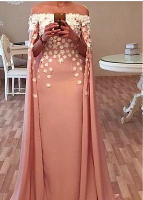Coral Off Shoulder Cape Cloak Long Formal  Bridesmaid Dresses