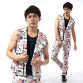 Male Personality Zipper Leather Vest Punk Style Male Large Lapel casual fashion Leather Vest Nightclub show singer dance wear