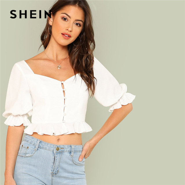 b2251b11c9553f SHEIN White Sexy Club Pearl Detail Ruffle Flounce Sleeve V Neck Womens Tops  and Blouses Trim