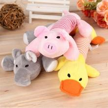 3 Designs Sound Dog Toys Pet Puppy Chew Squeaker Squeaky Plush Sound Duck Pig &amp Elephant Toys