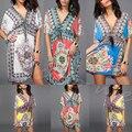 Mulheres dress retro bohemian paisley imprimir manga curta com decote em v de praia desgaste do verão dress