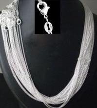 """Toptan fiyat 50 adet/grup toplu 925 damgalı gümüş kaplama 1mm bağlantı Rolo zincirleri 16 """",18"""" ,20 """",22"""",24 inç, moda kadın takı"""