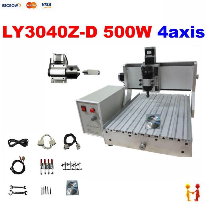 500W spindle 4 axis cnc router engraver machine 3040 3d cnc wood carving machine dc spindle 500w 3axis cnc wood carving machine 3040 4axis mini cnc 4030 router machine