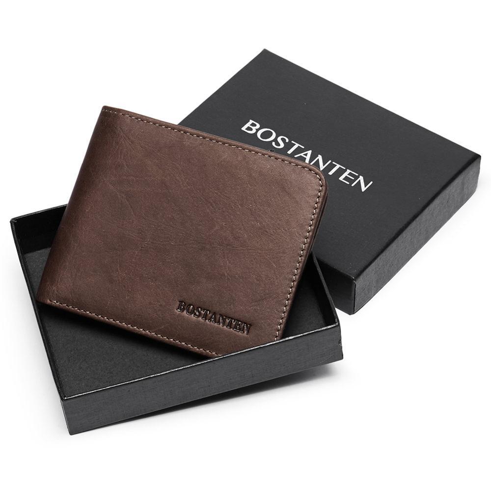 BOSTANTEN, Мужской винтажный кредитный держатель для карт, блокировка Rfid, кошелек, Geunine, кожа, унисекс, безопасность, информация, кошелек с коробкой - Цвет: coffee
