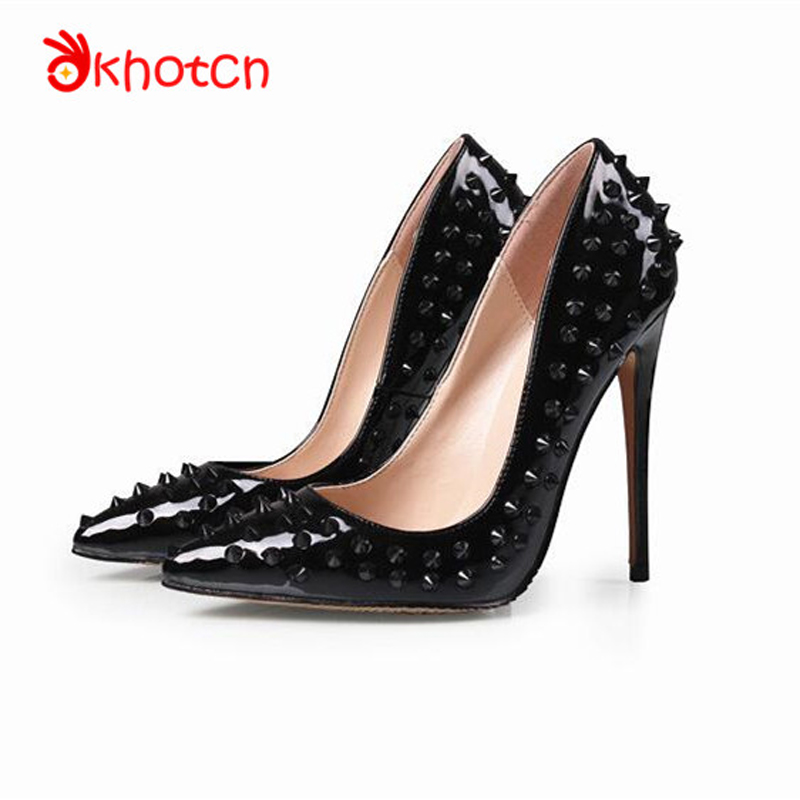 Okhotcn Zapatos Mujer Free Shipping Luxury Designer Wedding Thin High Heels Spikes Shoes Pointed Toe Studded Rivets Women Pumps free shipping red bottom glitter spikes high heels spikes prom shoes with silver and black rhinestones spikes evening pumps