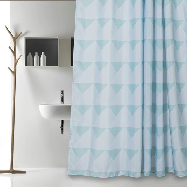 Memory Home Fabric Shower Curtain Simple Patterns Geometric Modern Bathroom  Green Small Triangles Polyester Bath Curtains