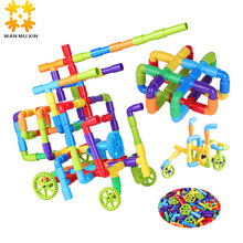 DIY Track Building Pipe Blocks Children Kids Assembling Toys Educational Toy Gift Tunnel Blocks Compatible with Small Size Block children wood rail overpass block toy creative cartoon traffic scene building blocks educational toy for children birthday gift