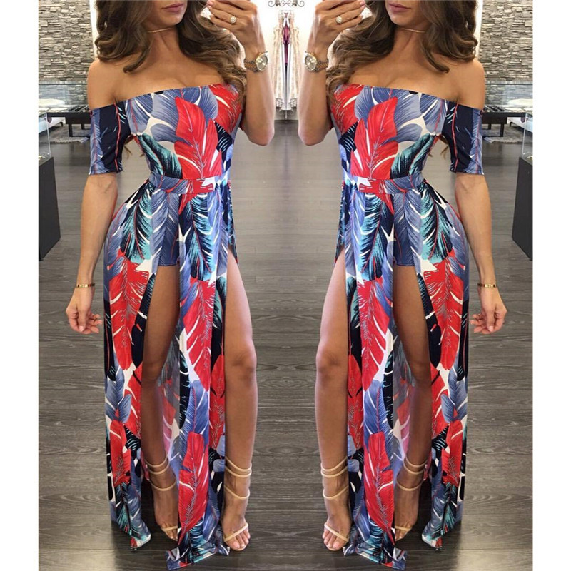 7ce9e56c9cd Summer Floral Print Dresses Women Sexy Slash Neck Off Shoulder High Split  Long Maxi Dress 2017 Summer Style Tight Dress Plus 2XL-in Dresses from  Women s ...