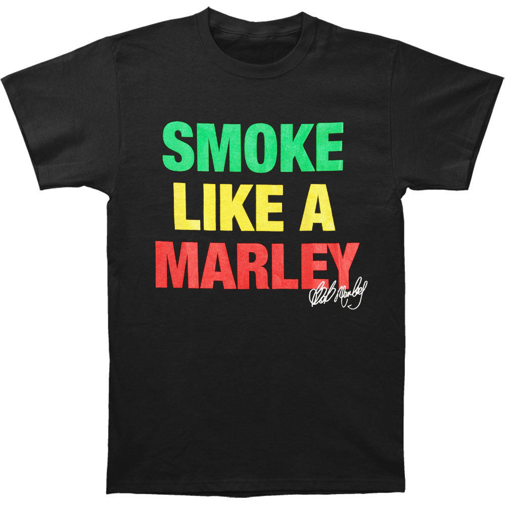 Impartial Bob Marley Men's Marley Smoke T-shirt Large Black Rockabilianew T Shirt Spring Summer Pure White And Translucent