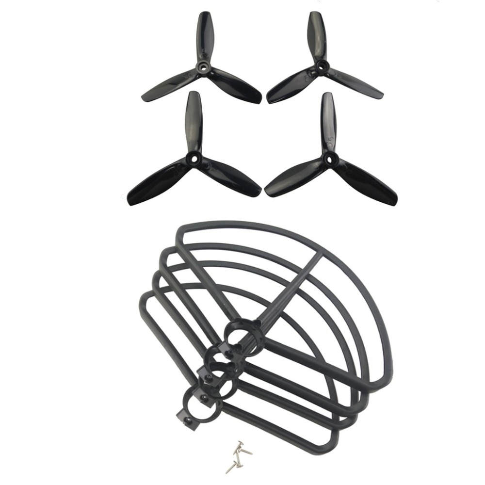 BLLRC 4pcs three-blade paddle + 4pcs protective cover for MJX B5W F20 BUgs 5W drone protection cover propeller spare parts xiaomi 4k drone propeller front and back 4pcs