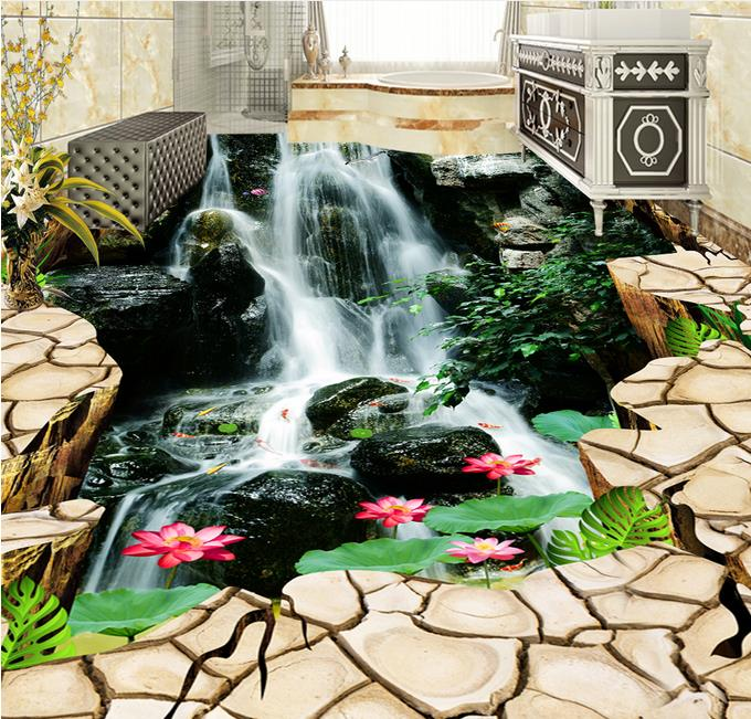 3d Flooring Photo Wallpaper Ground crack waterfall Lotus Wallpapers For Living Room 3d Floor Tiles 3d Wall Murals PVC Wallpapers european photo vinyl flooring 3d stereoscopic couple dolphin ocean pvc wallpaper murals waterproof beach shell wallpapers